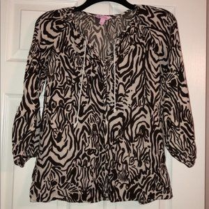 Lilly Pulitzer breezy Brown Zebra Blouse